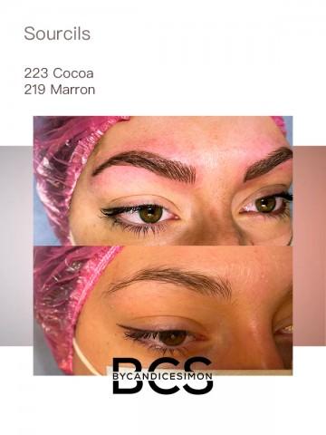 maquillage permanent des sourcils avec du Cocoa et du Marron